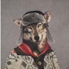Grand coussin Loup habillé avec chapka