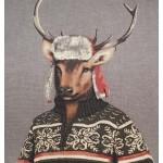 Grand coussin Cerf habillé avec chapka