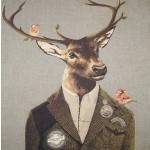 Grand coussin Cerf habillé garde chasse
